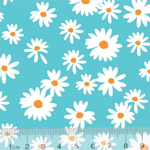 Tecido Tricoline Coleção Floral Flower White - Fundo Turquesa - 100% Algodão - Largura 1,50m