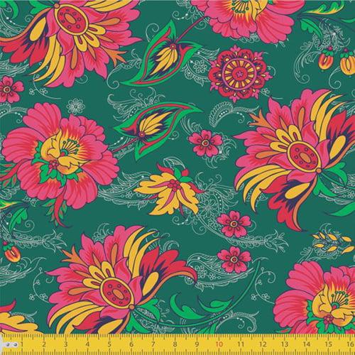 Tecido Tricoline Floral Jardim da Paz - Verde - 100% Algodão - Largura 1,50m