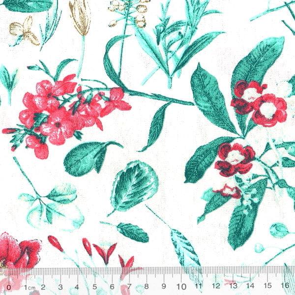 Tecido Tricoline Floral Jardim Melbourne