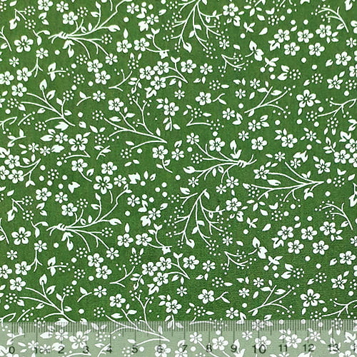 Tecido Tricoline Floral Liberty Ramos - Verde - 100% Algodão - Largura 1,50m
