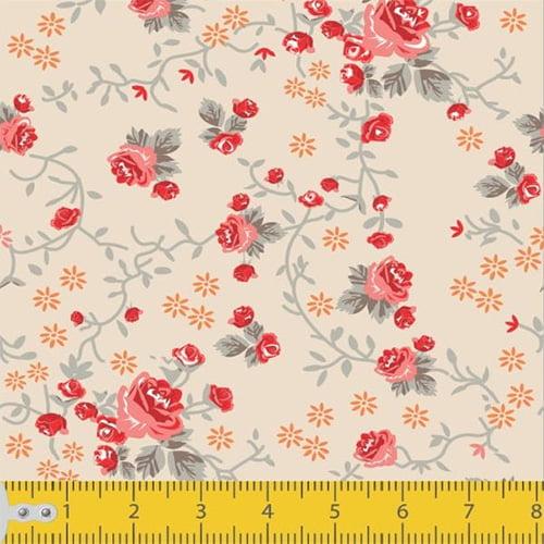 Tecido Tricoline Floral Ramificado - Bege - 100% Algodão - Largura 1,50m