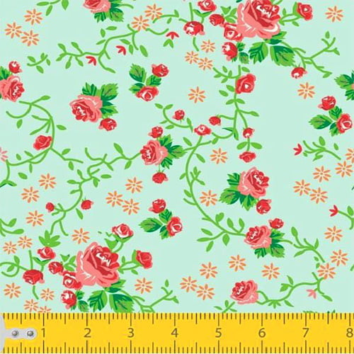 Tecido Tricoline Floral Ramificado - Verde Água - 100% Algodão - Largura 1,50m