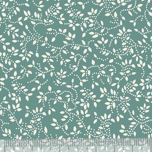 Tecido Tricoline Floral Raminhos - Fundo Verde Antigo c/ Marfim - 100% Algodão - Largura 1,50m