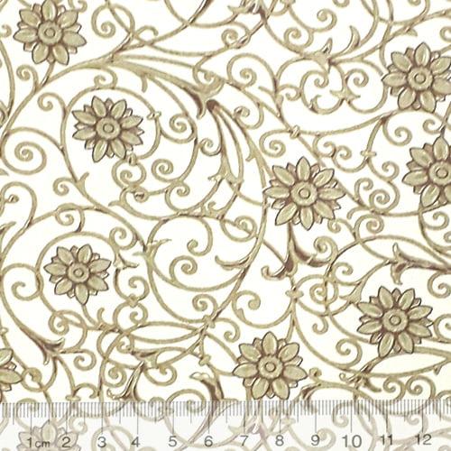 Tecido Tricoline Floral Soul - Bege - 100% Algodão - Largura 1,50m