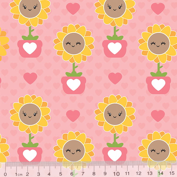 Tecido Tricoline Florzinha Love - Rosa - 100% Algodão - Largura 1,50m