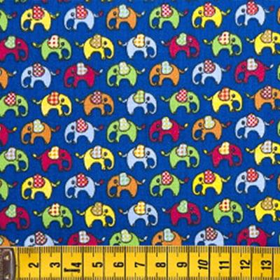 Tecido Tricoline FM Animais Multicoloridos Elefantinho - Fundo Azul - 100% Algodão - Largura 1,50m
