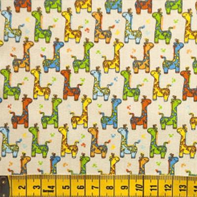 Tecido Tricoline FM Animais Multicoloridos Girafinha - Fundo Bege - 100% Algodão - Largura 1,50m