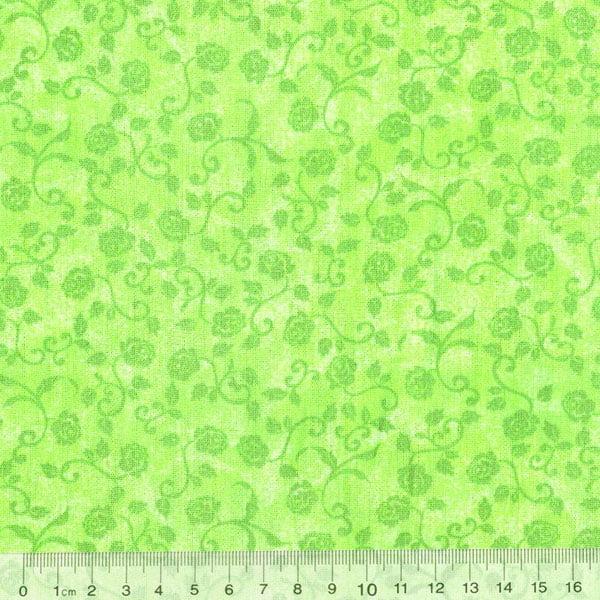 Tecido Tricoline FM Floral Col. Life - Verde