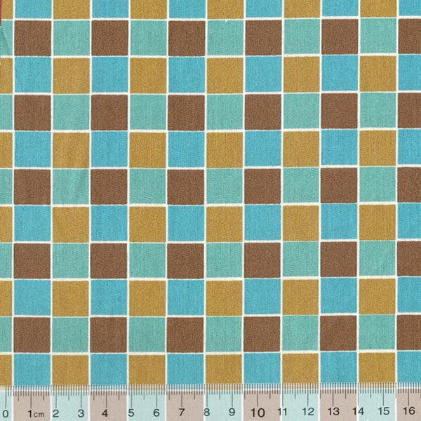 Tecido Tricoline FM Geometria Moderna Square Chess - Bege