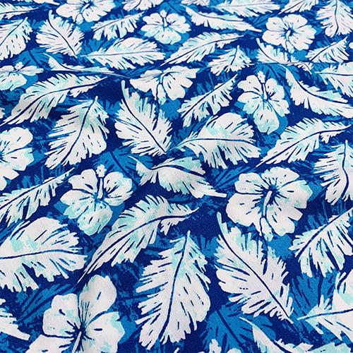 Tecido Tricoline Folhas Estações - Azul - 100% Algodão - Largura: 1,50m