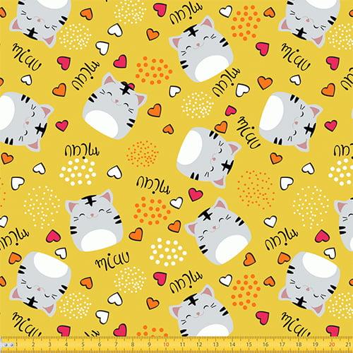Tecido Tricoline Gatinha Miau - Amarelo - 100% Algodão - Largura: 1,50m
