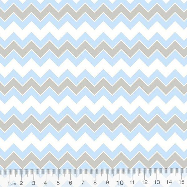 Tecido Tricoline Geometria Design Chevron - Azul - 100% Algodão - Largura 1,50m