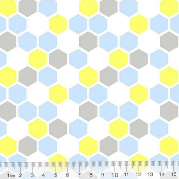 Tecido Tricoline Geometria Design Hexágono - Azul - 100% Algodão - Largura 1,50m