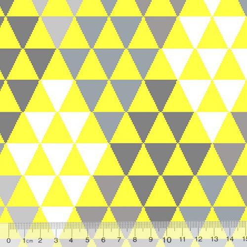 Tecido Tricoline Geometria Design Mini Pirâmides - Amarelo - 100% Algodão - Largura 1,50m