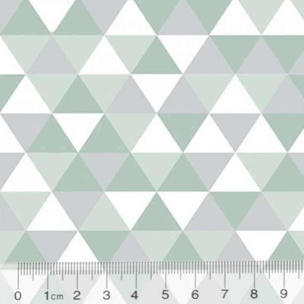 Tecido Tricoline Geométrico Ibira Maior - Verde Claro - 100% Algodão - Largura 1,50m