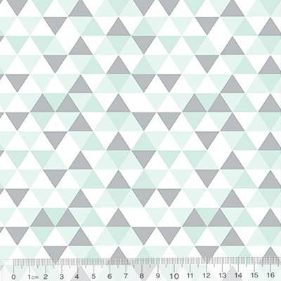 Tecido Tricoline Geométrico Ibira Mini - Verde Claro - 100% Algodão - Largura 1,50m