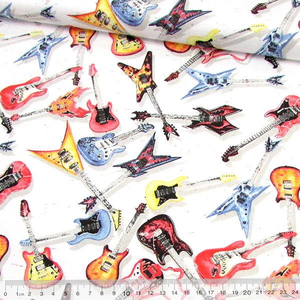Tecido Tricoline Guitarras Rock N Roll