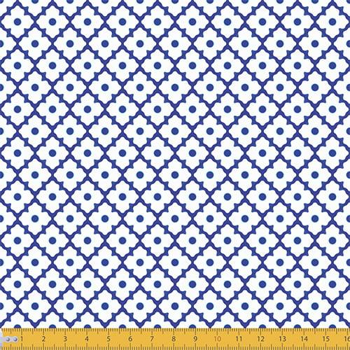 Tecido Tricoline Ladrilhos Étnico - Azul - 100% Algodão - Largura: 1,50m