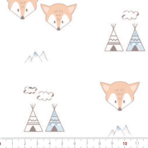 Tecido Tricoline Leve Baby - Raposa Baby - 100% Algodão - Largura 1,50m
