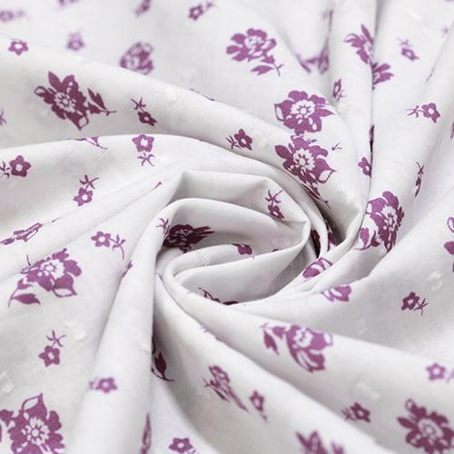 Tecido Tricoline Light Voil Fio 50 - Floral Alone Roxo - 100% Algodão - Largura 1,50m