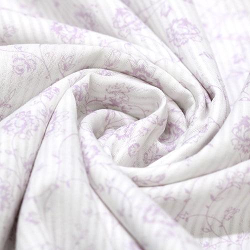 Tecido Tricoline Light Voil Fio 50 - Floral Marra Lilás - 100% Algodão - Largura 1,50m