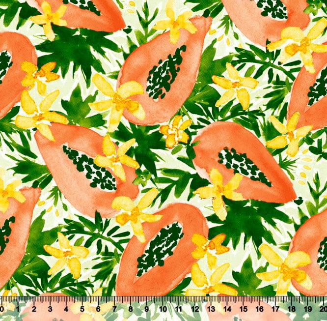 Tecido Tricoline Mamão e Flores - 100% Algodão - Largura: 1,50m