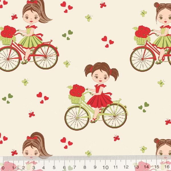 Tecido Tricoline Meninas e Bicicletas - Bege