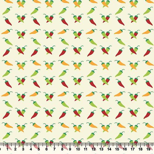 Tecido Tricoline Mini Pimentas - Fundo Bege - 100% Algodão - Largura 1,50m