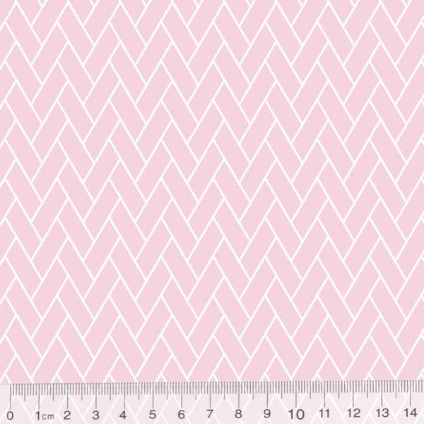 Tecido Tricoline Pan Mini Tijolinhos - Rosa Claro - 100% Algodão - Largura 1,50m
