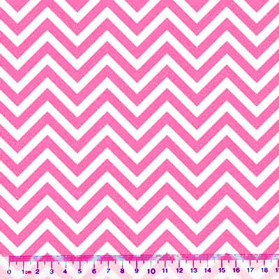 Tecido Tricoline Mista Chevron - Rosa Pink - 90% Algodão 10% Poliéster - Largura 1,50m