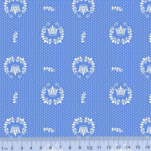 Tecido Tricoline Mista Coroas Dots - Azul - 90% Algodão 10% Poliéster - Largura 1,50m