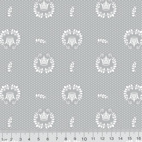 Tecido Tricoline Mista Coroas Dots - Cinza - 90% Algodão 10% Poliéster - Largura 1,50m