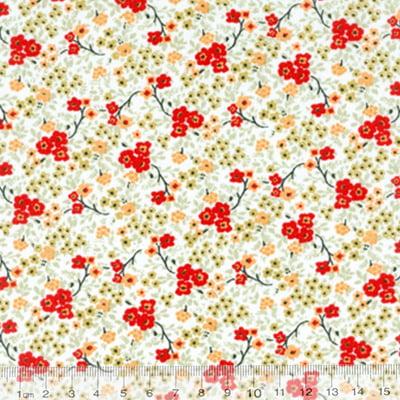 Tecido Tricoline Mista Floral Cassis - Vermelho - 90% Algodão 10% Poliéster - Largura 1,50m