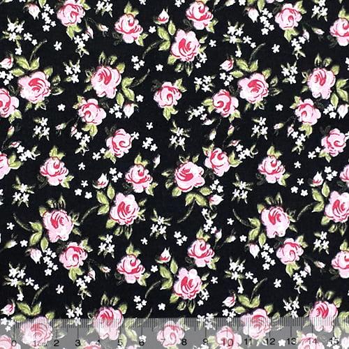 Tecido Tricoline Mista Floral Rosa Delicada - Fundo Preto - 90% Algodão 10% Poliéster - Largura 1,50m
