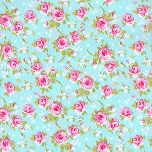 Tecido Tricoline Mista Floral Rosa Delicada - Fundo Turquesa - 90% Algodão 10% Poliéster - Largura 1,50m