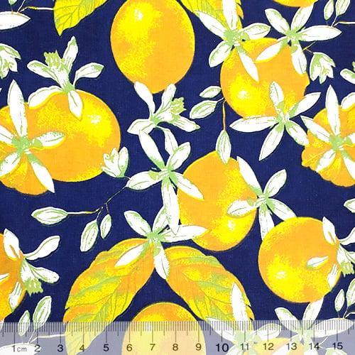 Tecido Tricoline Mista Fruit - Azul Marinho - 90% Algodão 10% Poliéster - Largura 1,50m