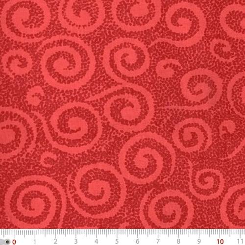 Tecido Tricoline Mista Natal Aspirais - Vermelho - 90% Algodão 10% Poliéster - Largura 1,50m