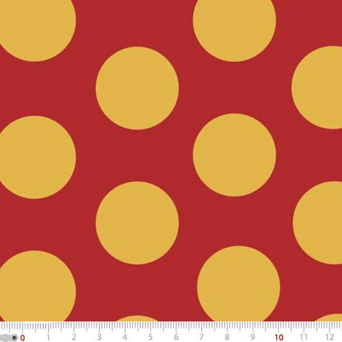 Tecido Tricoline Mista Natal Bolas Douradas - Fundo Vermelho - 90% Algodão 10% Poliéster - Largura 1,50m