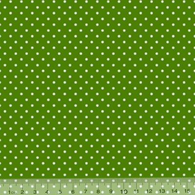 Tecido Tricoline Mista Poá M - Verde c/ Branco - 90% Algodão 10% Poliéster - Largura 1,50m