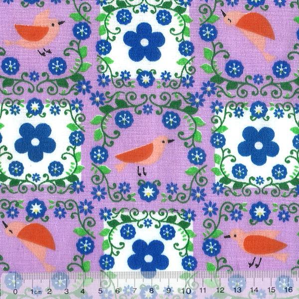 Tecido Tricoline Mista Pooly - Passarinhos e Flores - Lilás (80% poliéster / 20% algodão) (Largura: 1,40m)