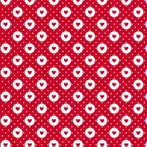 Tecido Tricoline Mista Pop Textoleen Corações Sticker - Vermelho - 50% Algodão 50% Poliéster - Largura 1,38m