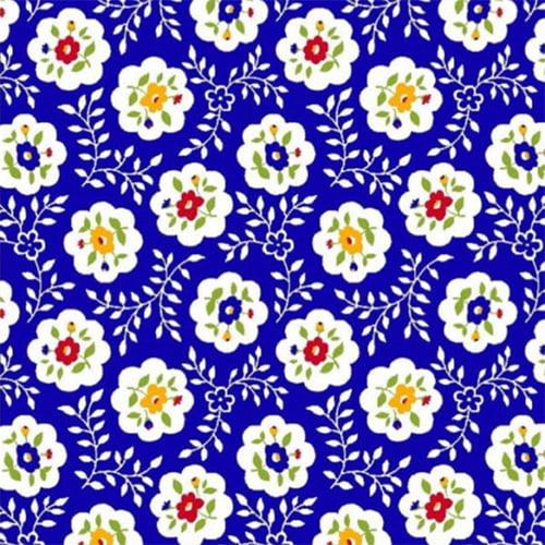 Tecido Tricoline Mista Pop Textoleen Floral Bloom - Azul - 50% Algodão 50% Poliéster - Largura 1,38m