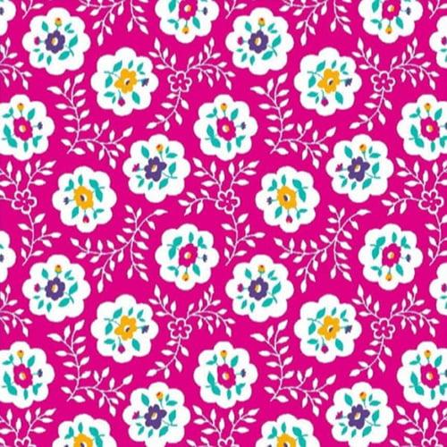 Tecido Tricoline Mista Pop Textoleen Floral Bloom - Rosa - 50% Algodão 50% Poliéster - Largura 1,38m
