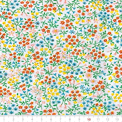 Tecido Tricoline Mista Pop Textoleen Floral Liberty Luna - Turquesa - 50% Algodão 50% Poliéster - Largura 1,38m