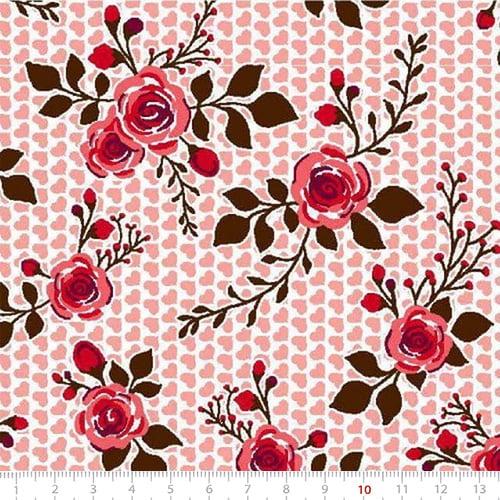 Tecido Tricoline Mista Pop Textoleen Floral Little Heart - Salmão - 50% Algodão 50% Poliéster - Largura 1,38m