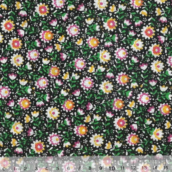 Tecido Tricoline Mista Pop Textoleen Jardim Meu - Preto - 50% Algodão 50% Poliéster - Largura 1,38m
