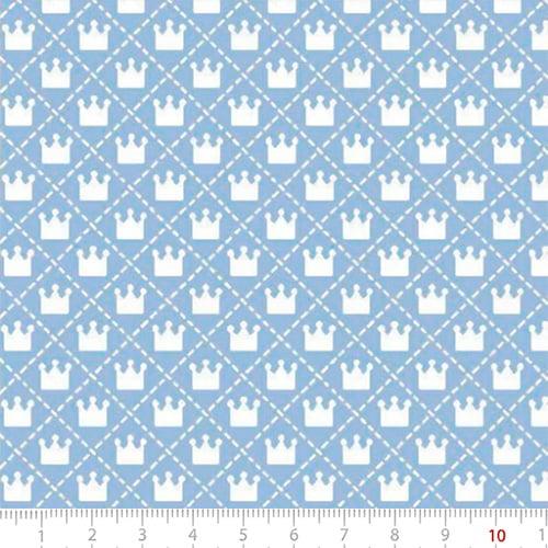 Tecido Tricoline Mista Pop Textoleen Mini Coroas - Azul Claro - 50% Algodão 50% Poliéster - Largura 1,38m