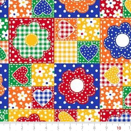 Tecido Tricoline Mista Pop Textoleen Patch Flores e Corações - Azul e Laranja - 50% Algodão 50% Poliéster - Largura 1,38m