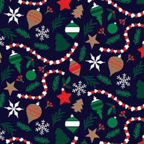 Tecido Tricoline Natal Design - Enfeites - Azul Marinho - 100% Algodão - Largura: 1,50m