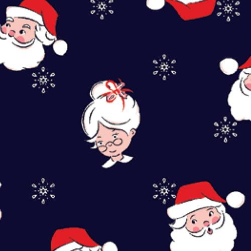 Tecido Tricoline Natal Design - Papai e Mamãe Noel - Azul Marinho - 100% Algodão - Largura: 1,50m